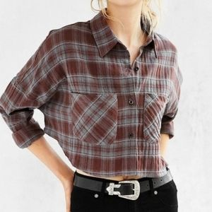 UNIF X Urban Outfitters Cropped Plaid Flannel Top